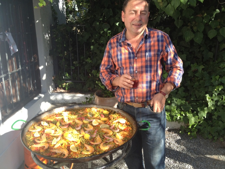 A paella feast cooked by Antonio at my language school, Castila in the Albaicin