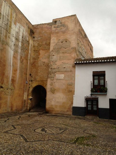 The entrance to Plaza Larga deserted on a rainy day