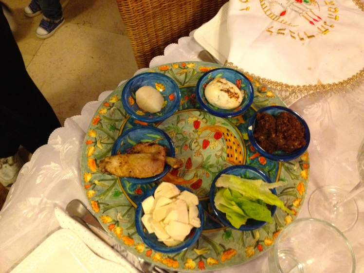 The Seder plate at the centre of Pesach (passover) which commemorates when the Jews escaped slavery under the Pharaohs in Egypt