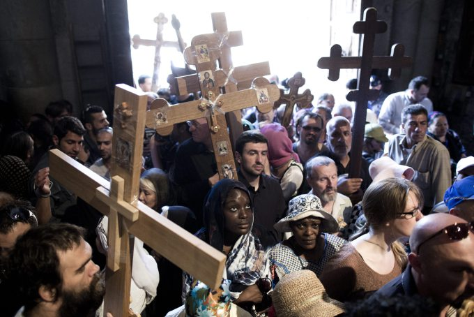Good Friday procession at the Church of the Holy Sepulchre in Jerusalem