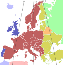 Current European time zones