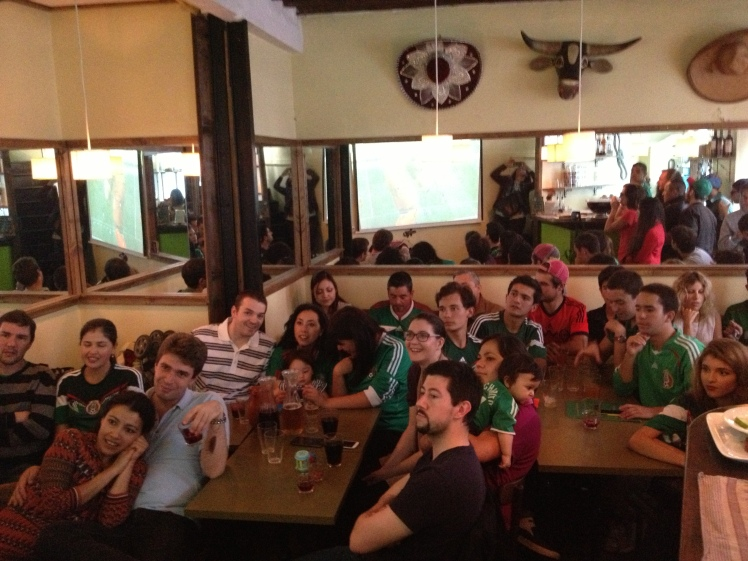 Mexican supporters in Paris - witnessing the devastating loss to Holland