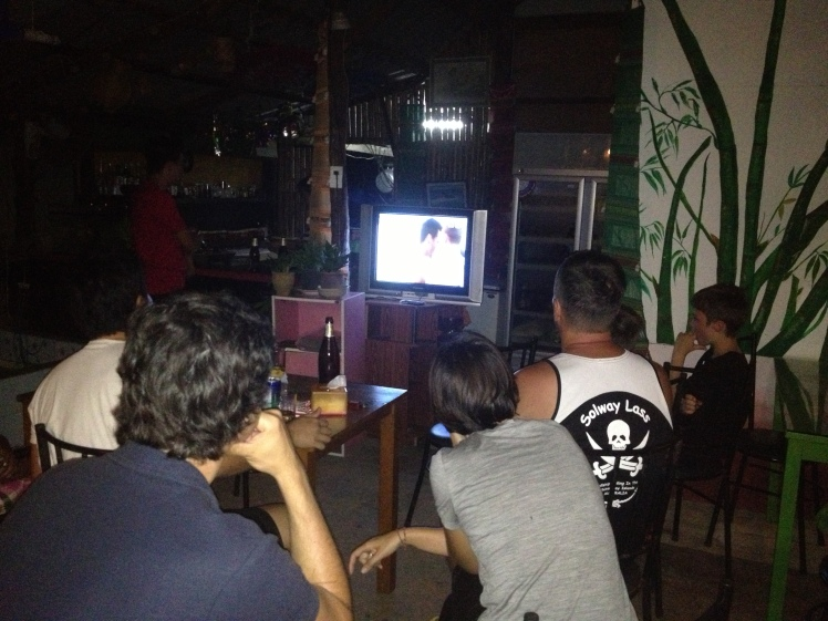 Watching France lose to Germany on a very old TV in a mosquito- ridden bar on a small island in Thailand