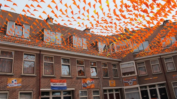 The Dutch and their football fanaticism - a street in Scheveningen