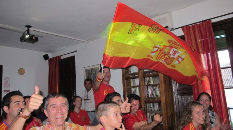Celebrating Spain's first goal against Holland before they lost 1-5
