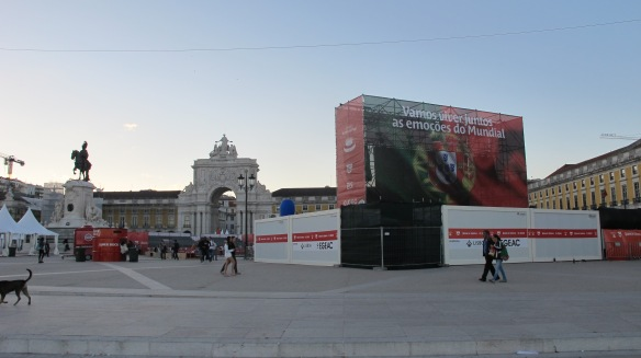 Just one of several enormous screens erected in Lisbon for public viewing of the World Cup. This one in Praia Commerciao