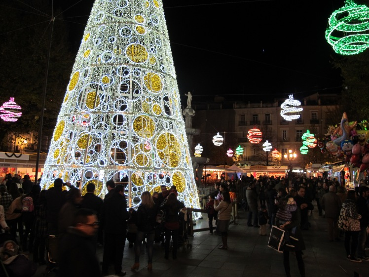 The beautiful Christmas lights in Plaza Bib Rambla, Granada Spain